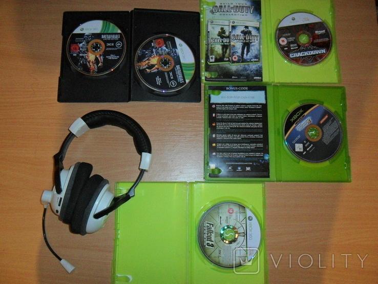Диски лицензионные и гарнитура на приставку Xbox, фото №3