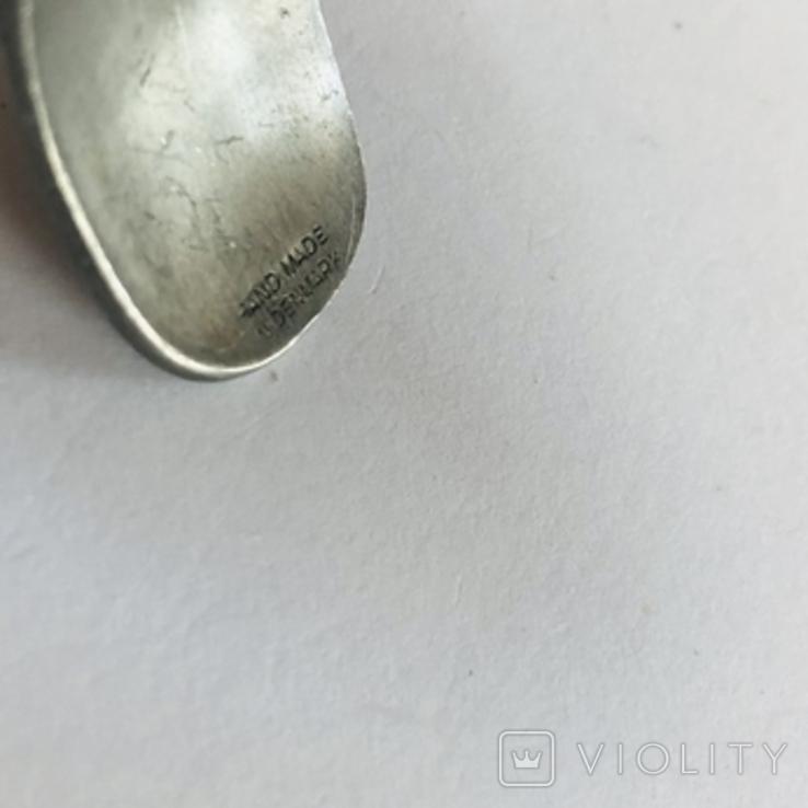 Браслет олово ручная работа маркирован Hand made Denmark старенький, фото №5