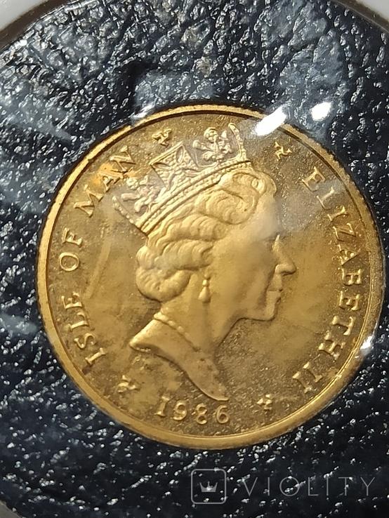 Монета Ангел , остров Мен, 1/10 OZ 9.999, 1986 год, фото №3