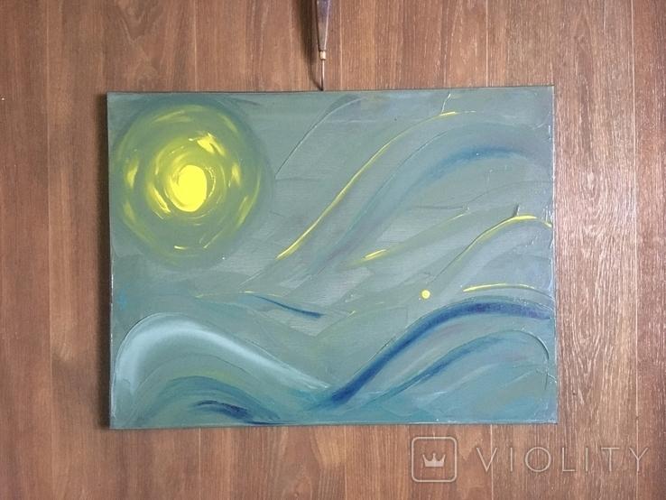 Картина маслом Солнце, фото №2