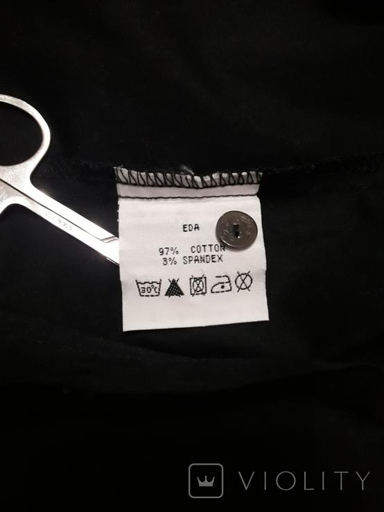 Женская чёрная рубашка CL Essentials. Пуговицы с гравировкой. Вышивка на рукаве, фото №8
