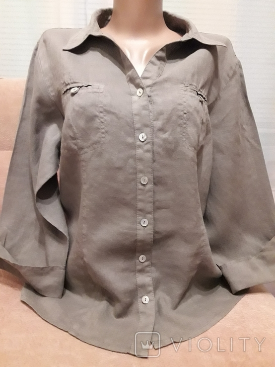 Женская рубаха с перламутровыми пуговицами из нат ракушки. Лён, фото №2