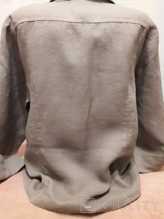 Женская рубаха с перламутровыми пуговицами из нат ракушки. Лён, фото №6