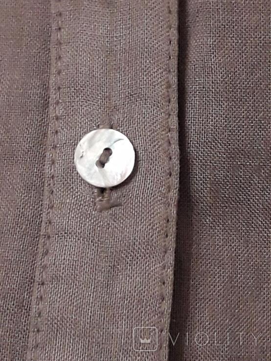 Женская рубаха с перламутровыми пуговицами из нат ракушки. Лён, фото №7