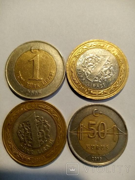 Турция 1 лира,50 куруш 2005-2016 4шт, фото №2
