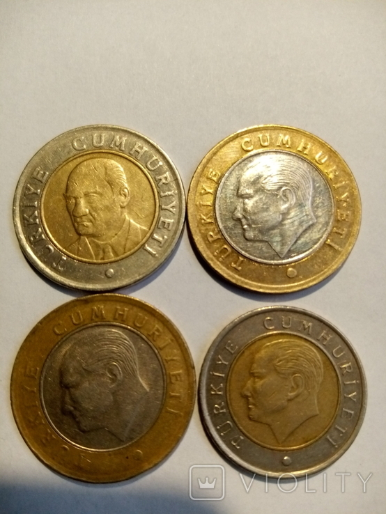 Турция 1 лира,50 куруш 2005-2016 4шт, фото №3