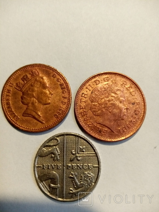 Англия 1 пенни 2шт,5 пенс 1990,2001,2010, фото №2