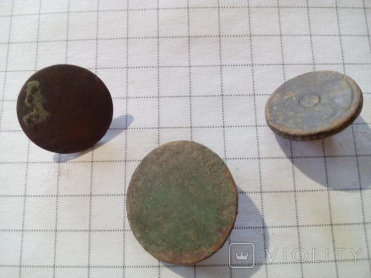 Старинные пуговицы, плоские (Российская империя), 3 шт., фото №4