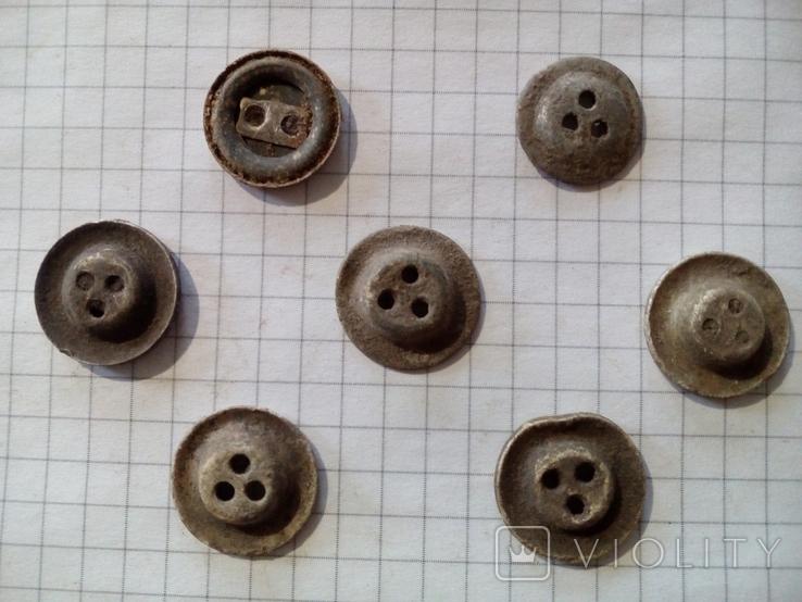 Старинные пуговицы на три и два отверстия, 7 шт., фото №6