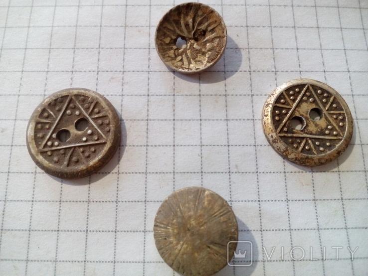 Старинные пуговицы с различными узорами (СССР), 4 шт., фото №2