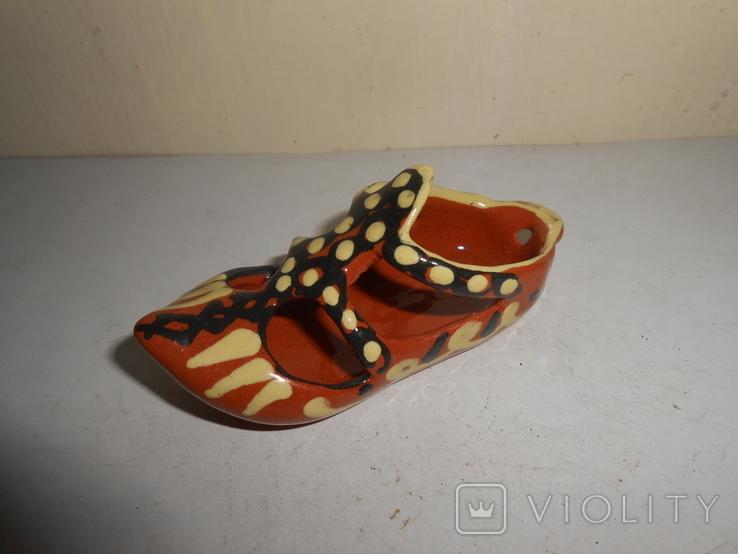 Туфля,пепельница обливная керамика, фото №3