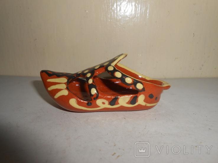 Туфля,пепельница обливная керамика, фото №4