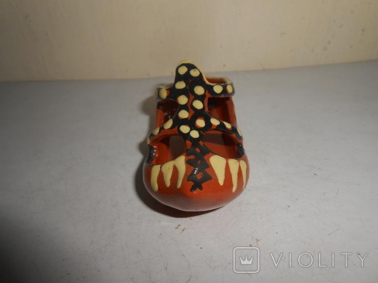 Туфля,пепельница обливная керамика, фото №6