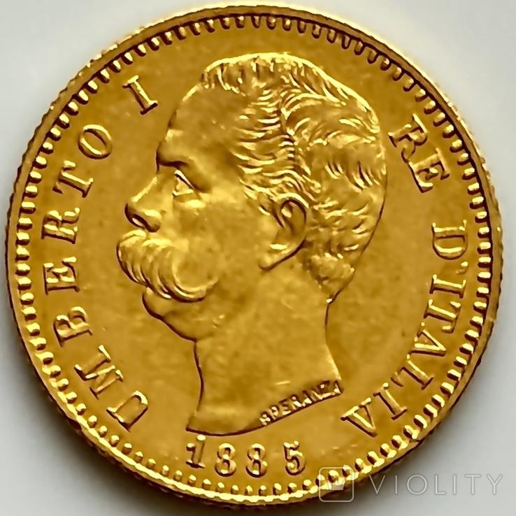 20 лир. 1885. Умберто I. Италия (золото 900, вес 6,44 г), фото №4