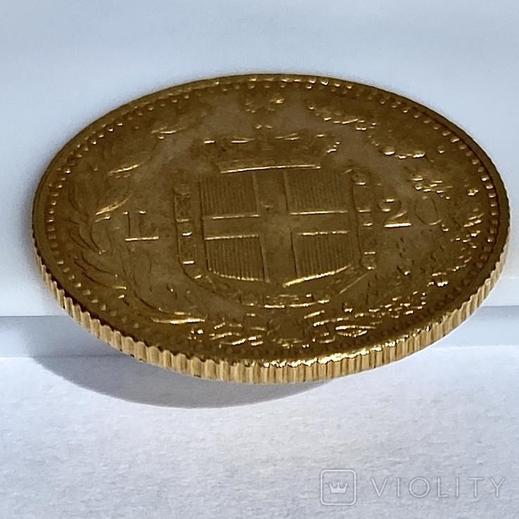 20 лир. 1885. Умберто I. Италия (золото 900, вес 6,44 г), фото №6