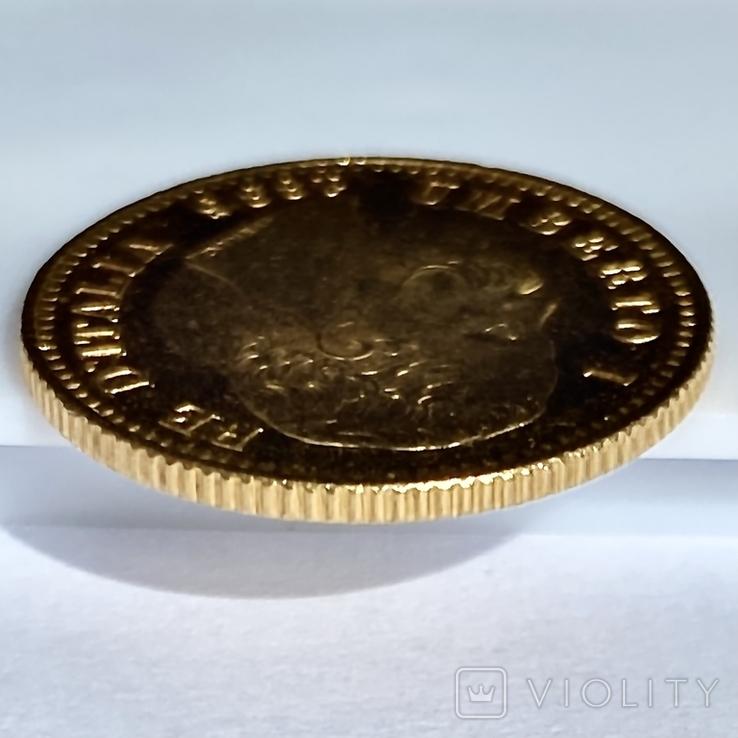 20 лир. 1885. Умберто I. Италия (золото 900, вес 6,44 г), фото №8