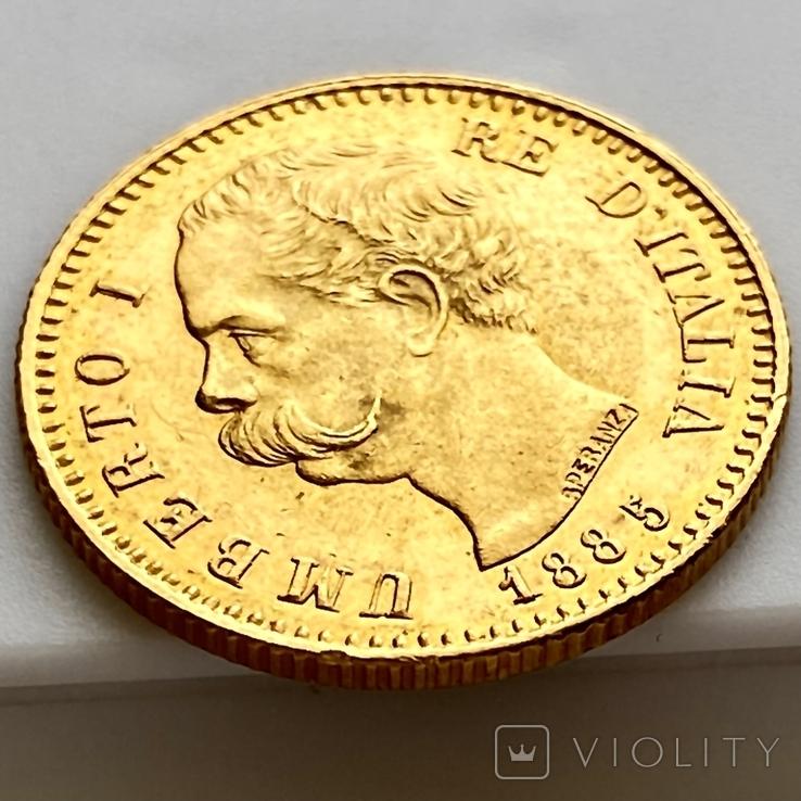 20 лир. 1885. Умберто I. Италия (золото 900, вес 6,44 г), фото №10