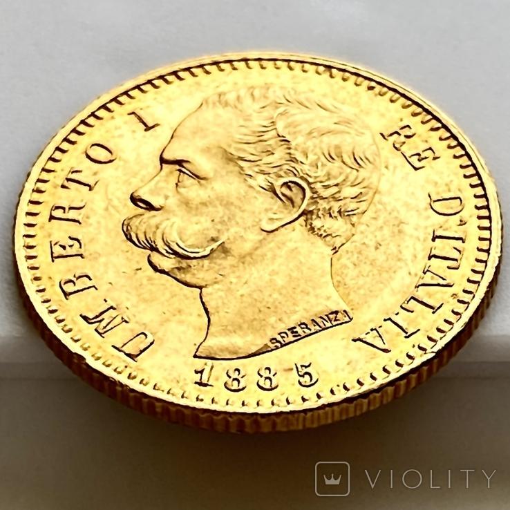 20 лир. 1885. Умберто I. Италия (золото 900, вес 6,44 г), фото №11