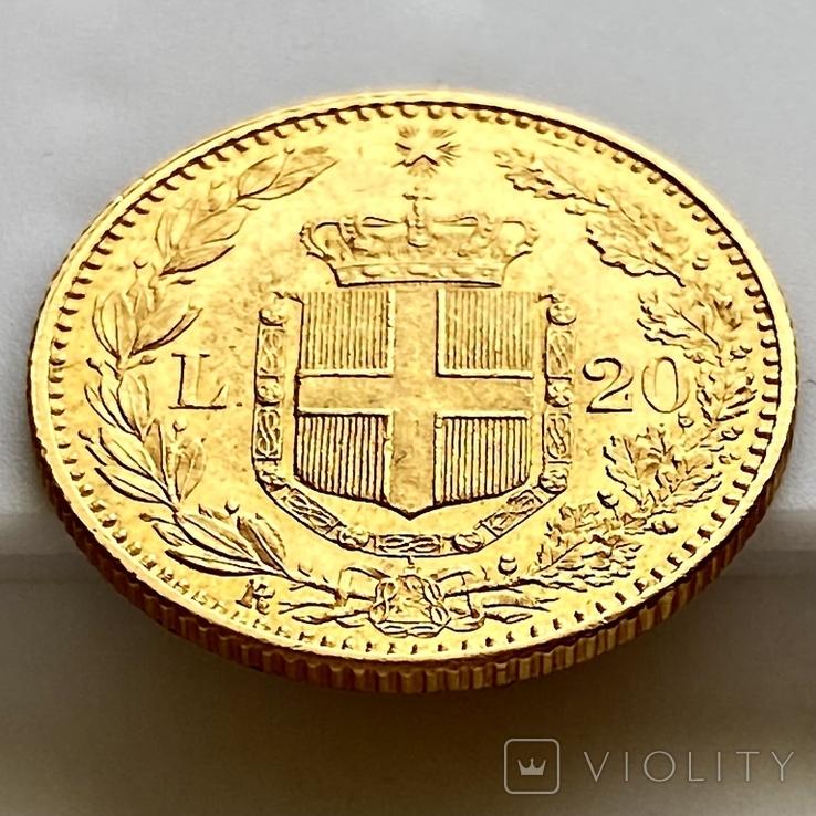 20 лир. 1885. Умберто I. Италия (золото 900, вес 6,44 г), фото №12
