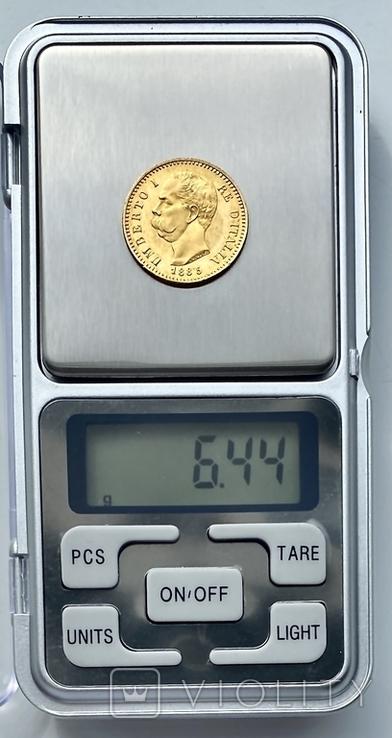 20 лир. 1885. Умберто I. Италия (золото 900, вес 6,44 г), фото №13