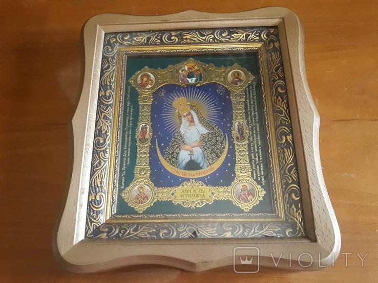 Икона Образ Пресвятой Богородицы Остробрямской в деревянном киоте, фото №2