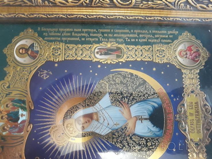 Икона Образ Пресвятой Богородицы Остробрямской в деревянном киоте, фото №8