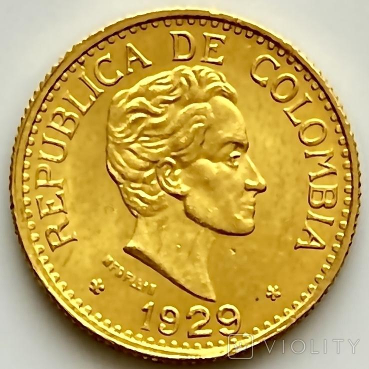 5 песо. 1929. Колумбия (золото 917, вес 7,97 г), фото №2