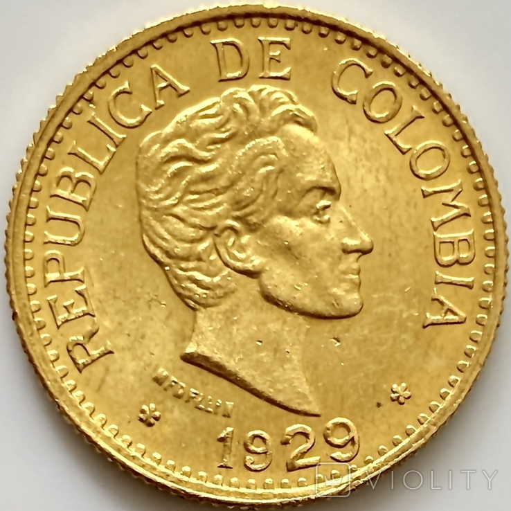 5 песо. 1929. Колумбия (золото 917, вес 7,97 г), фото №6