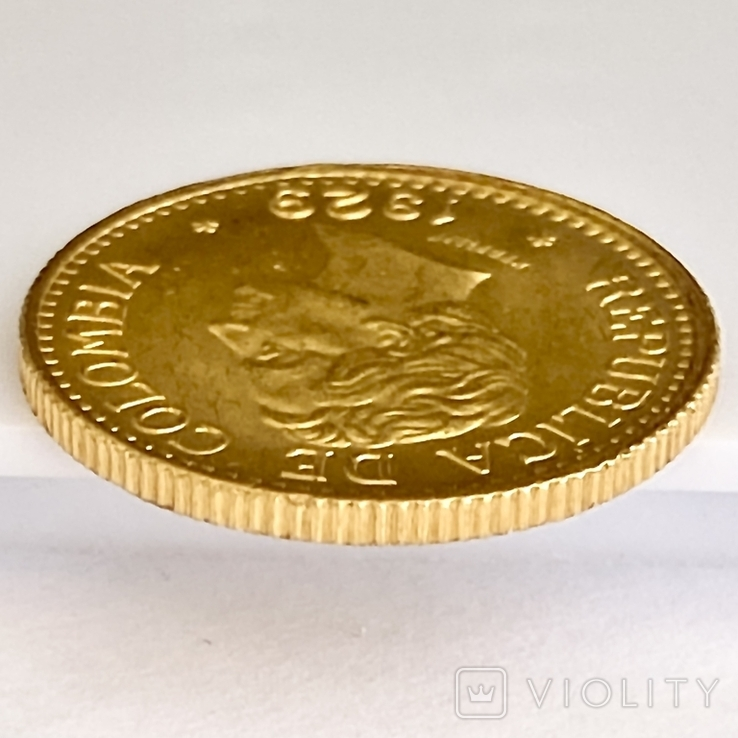 5 песо. 1929. Колумбия (золото 917, вес 7,97 г), фото №11