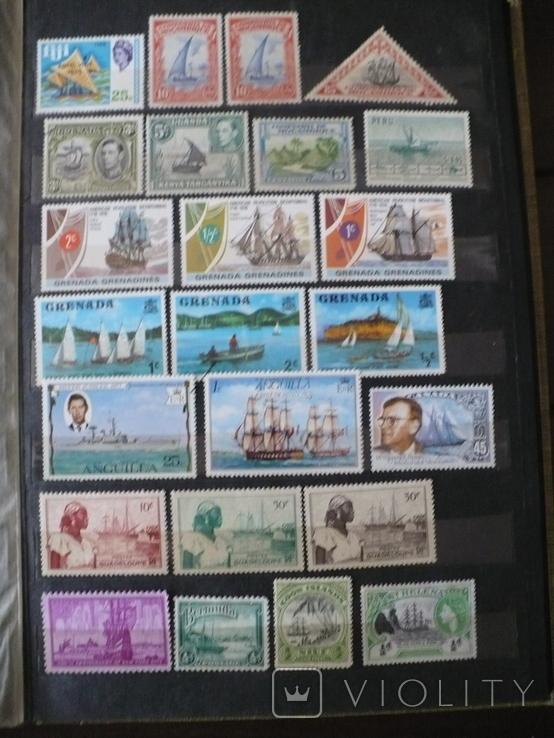 Парусники на марках колоний и разнх стран MNH** в альбоме, фото №13
