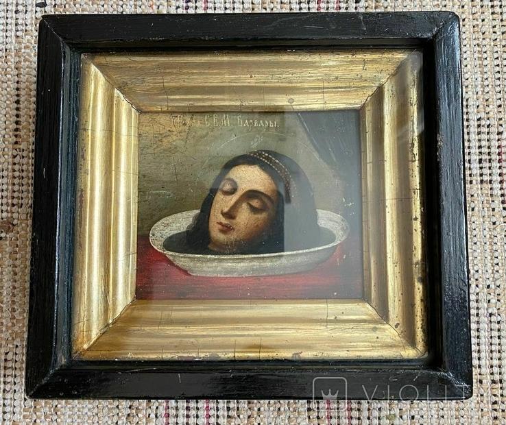 Икона Усекновение Главы Святой Великомученицы Варвары в киоте, фото №2