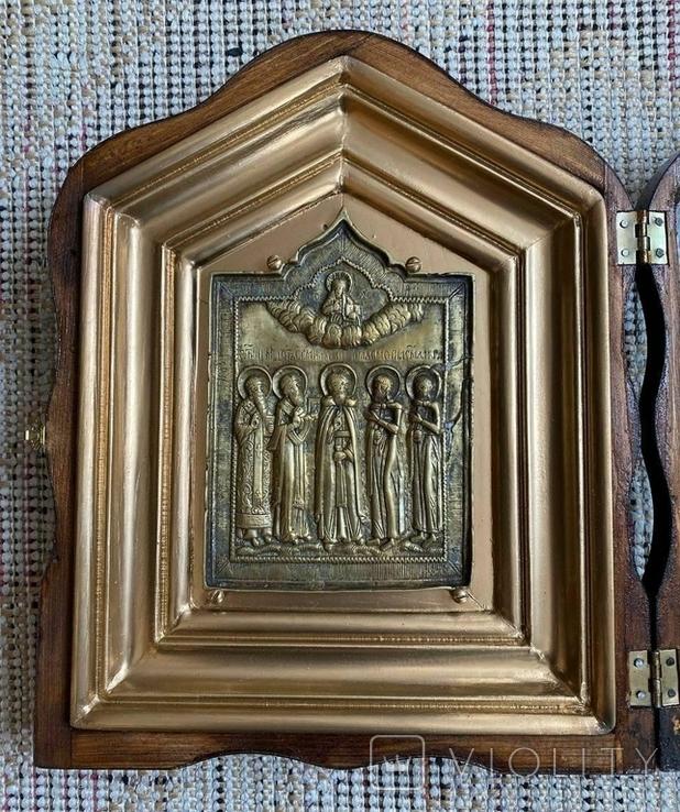 Икона Святых бронза в киоте домиком, фото №3