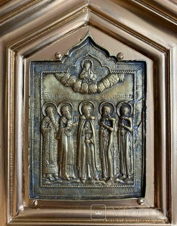 Икона Святых бронза в киоте домиком, фото №4