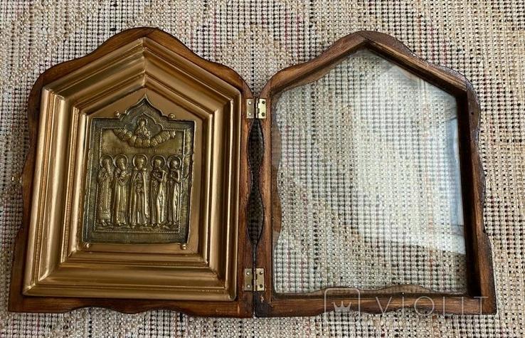 Икона Святых бронза в киоте домиком, фото №6
