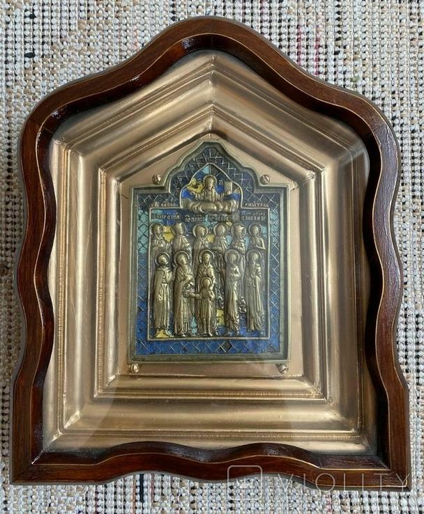 Икона Святых бронза в киоте 3 цвета эмали, фото №2