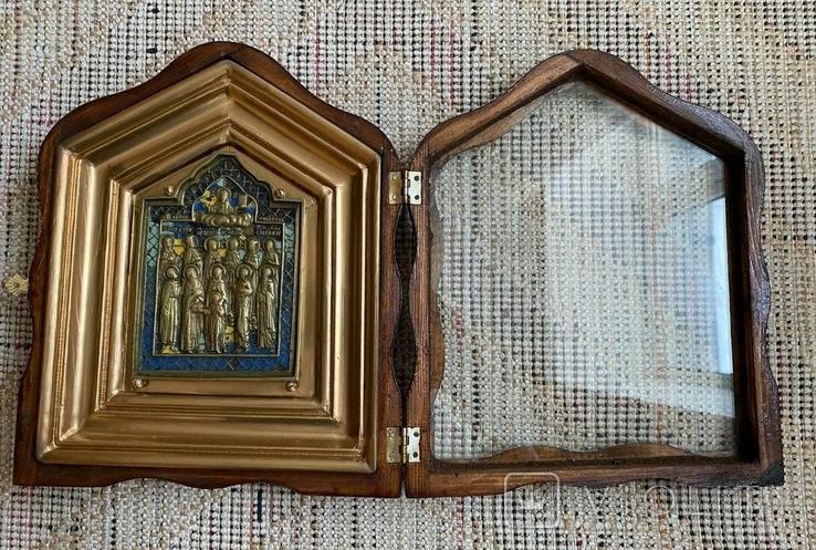 Икона Святых бронза в киоте 3 цвета эмали, фото №6