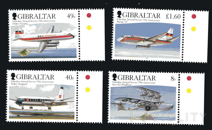 Гибралтар 2006 - Юбилей 75 лет авиапочты. Самолеты. транспорт . серия