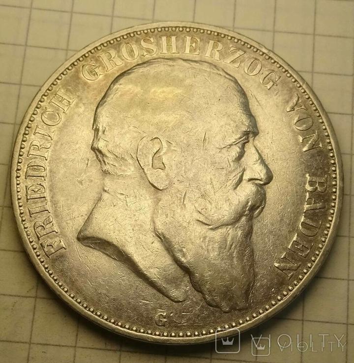 1904 год, 5 марок, Баден., фото №2