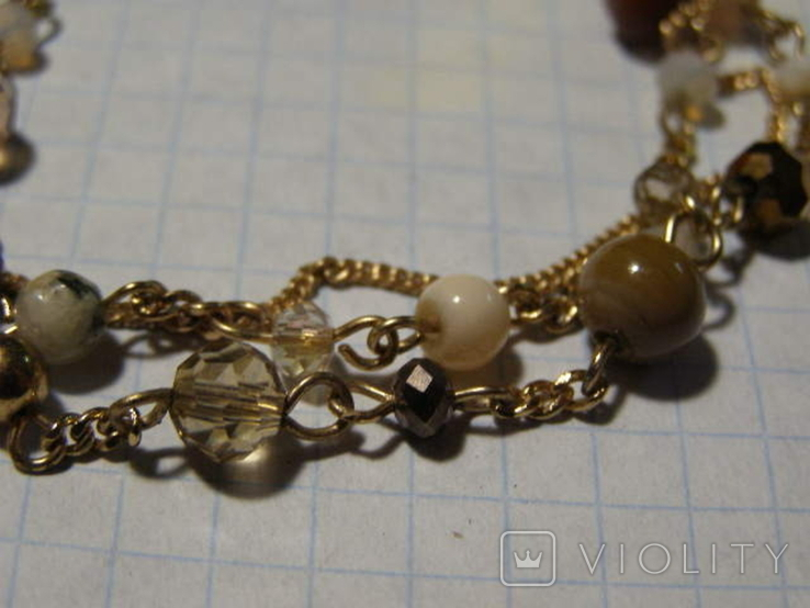 Браслет стеклянные бусины, фото №3