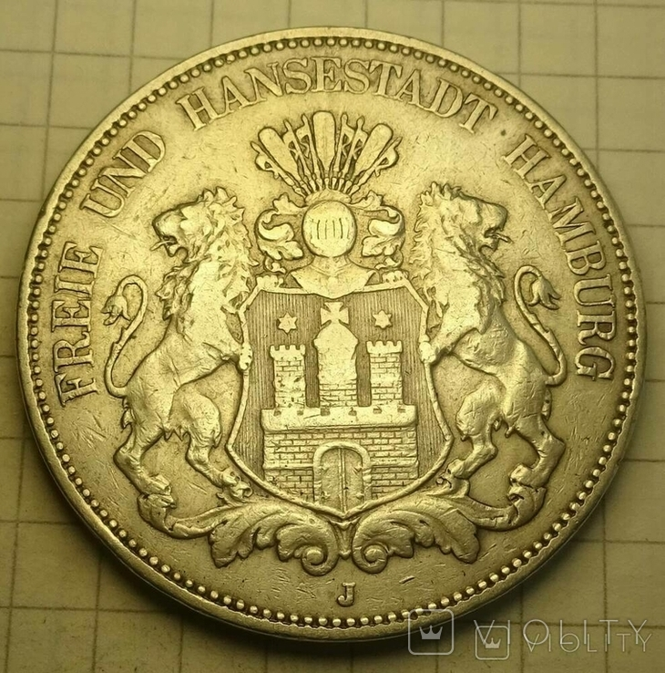 5 марок, Гамбург, 1899 год., фото №2