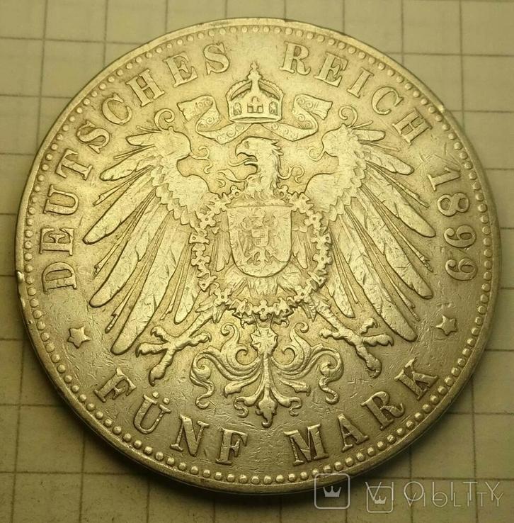 5 марок, Гамбург, 1899 год., фото №5