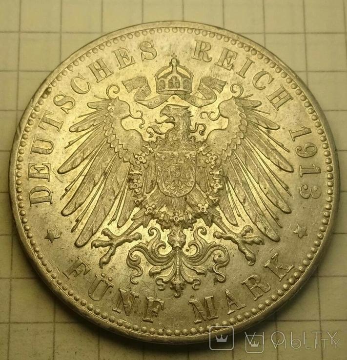 1913 год, Вюртемберг, 5 марок., фото №5