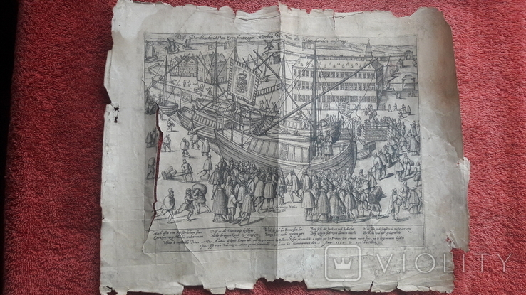"""Гравюра """"Отступление Ерцгерцога Матиаса из Нидерландов 1581 г."""" G. Baudartius 1616 г., фото №3"""
