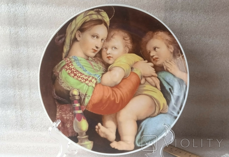 "Настенная тарелка ""Мадонна с детьми""/ 26см/ Бавария/ 1969-1993гг, фото №2"