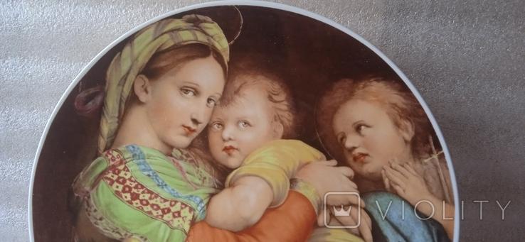 "Настенная тарелка ""Мадонна с детьми""/ 26см/ Бавария/ 1969-1993гг, фото №5"