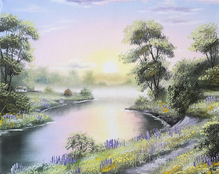 Картина, Поезія літнього вечора, 50х40 см. Живопис на полотні, фото №2