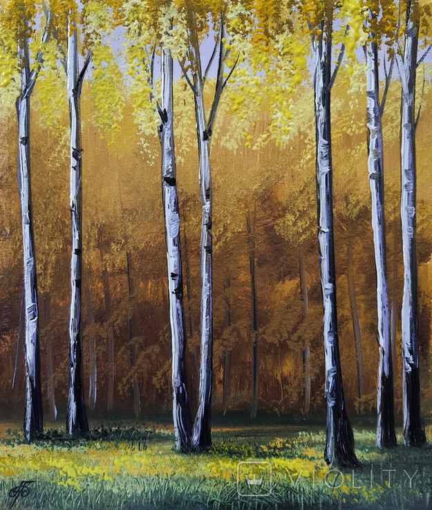 Картина, Золота осінь, 25х30 см. Живопис на полотні, фото №4