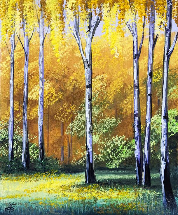 Картина, Поема золотої осені, 25х30 см. Живопис на полотні, фото №2