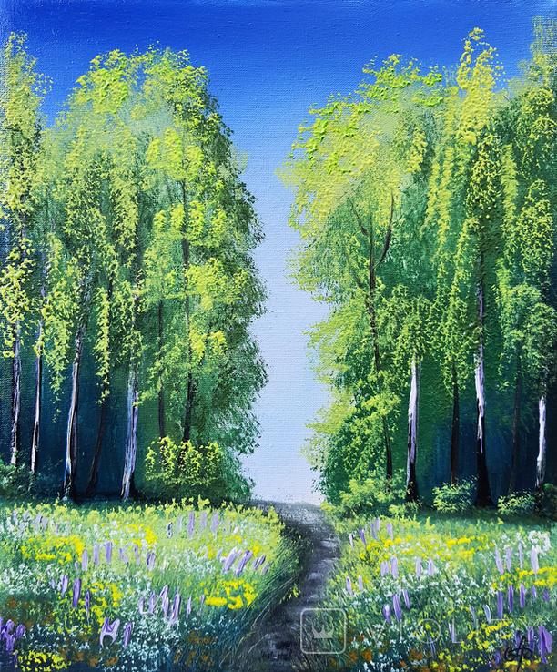 Картина, Стежина в літо, 25х30 см. Живопис на полотні, фото №2