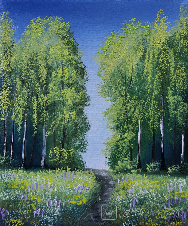 Картина, Стежина в літо, 25х30 см. Живопис на полотні, фото №4